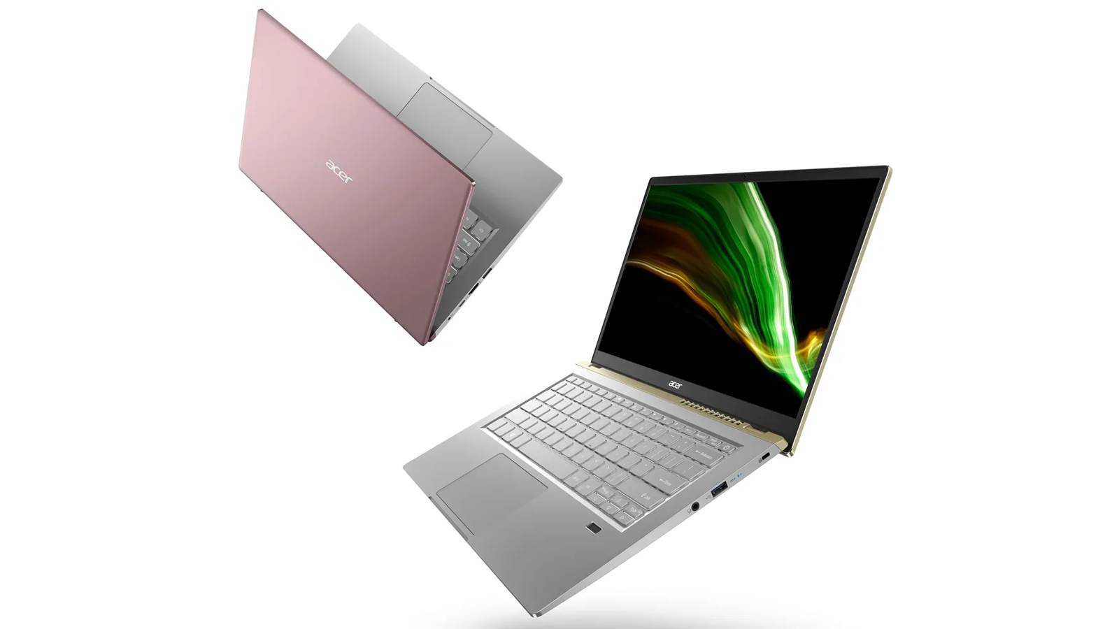 Two exterior views of the Acer Swift X laptop