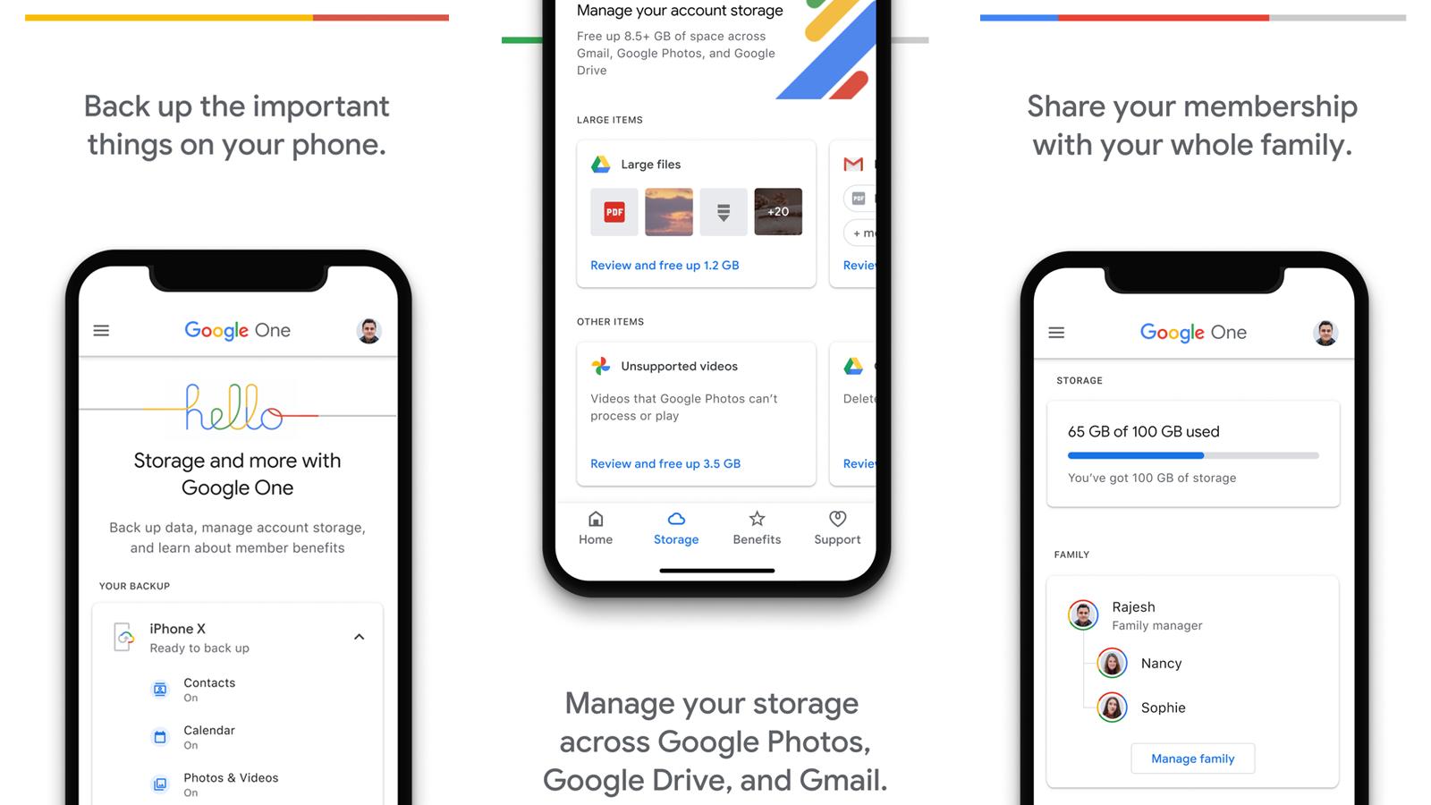 Приложение Google One с возможностью управления хранилищем и общего доступа