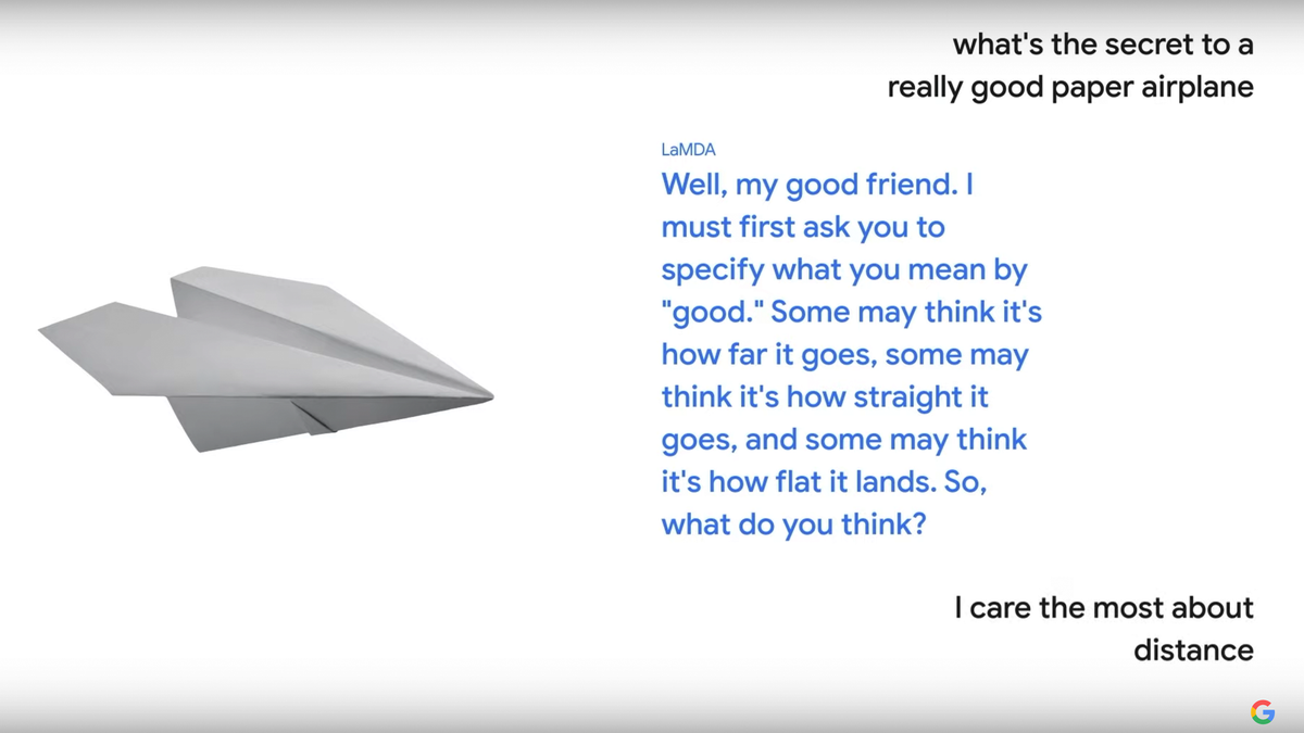 The LaMDA conversational AI role playing as a paper airplane.