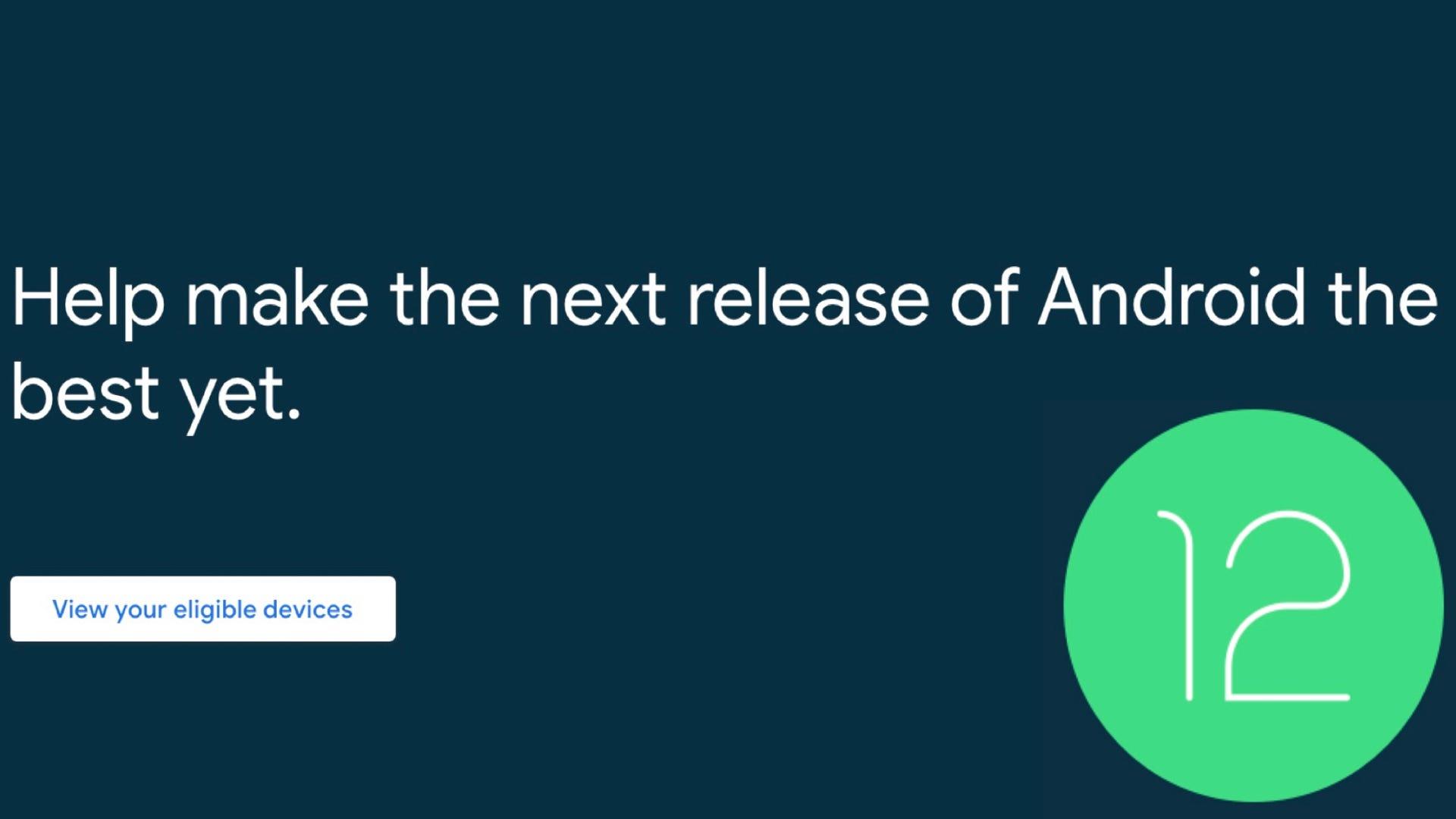Google Android 12 beta program website