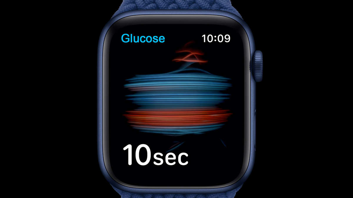 Photoshopped image of an Apple Watch with a glucose monitoring app.