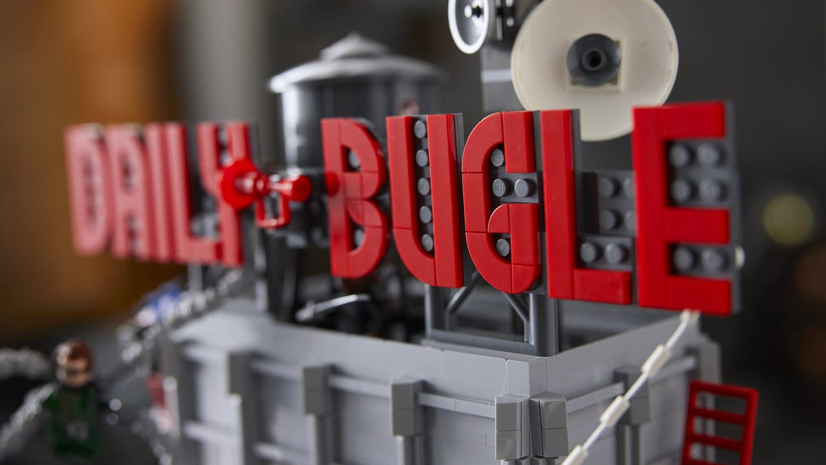A close-up of a LEGO Daily Bugle sign