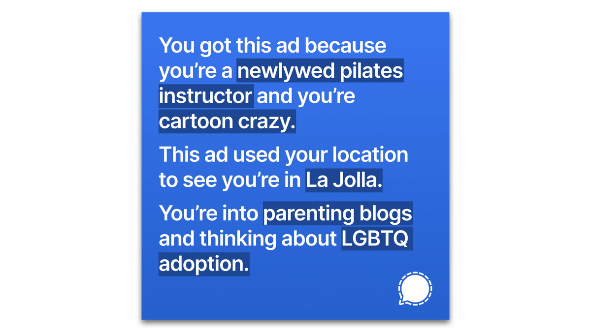 "A Signal ad describing the reader as a ""newlywed pilates instructor,"" and ""cartoon crazy."""