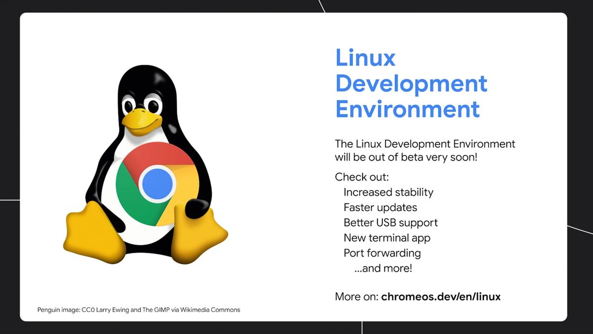 A banner describing Linux Development Enviornment status on Chrome OS.