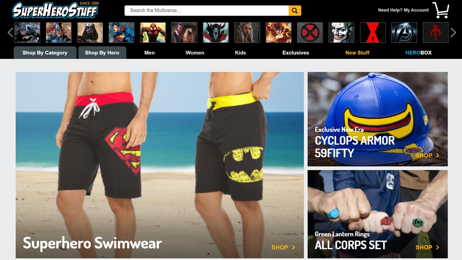 Lots of clothing, hats, jewelry, and other superhero-based options on Superhero STuff