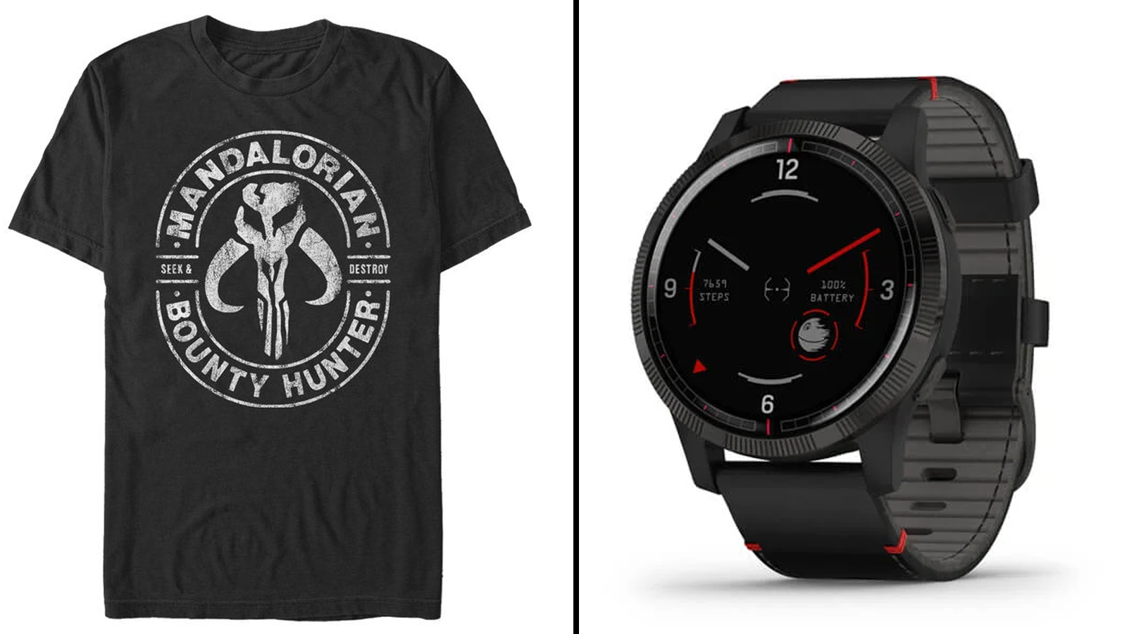 Mandalorian-style t-shirt, Garmin smartwatch with Darth Vader theme