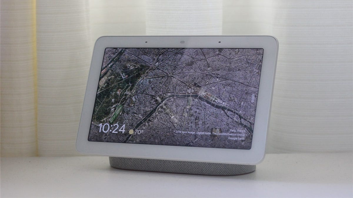 The Google Nest Hub on a white desk