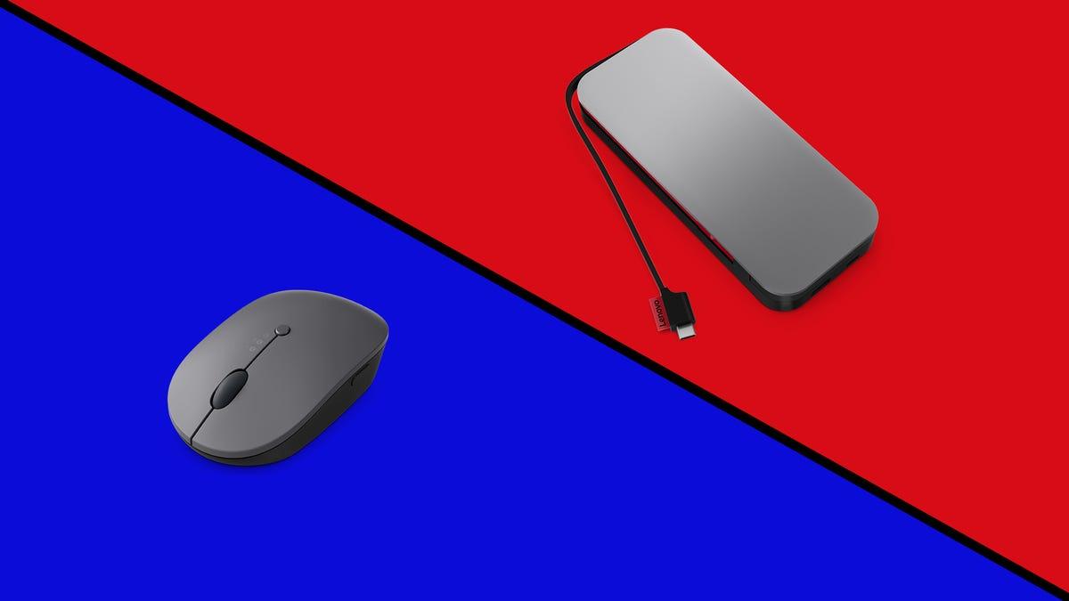 A Lenovo Go mouse next to a Lenovo Go power bank