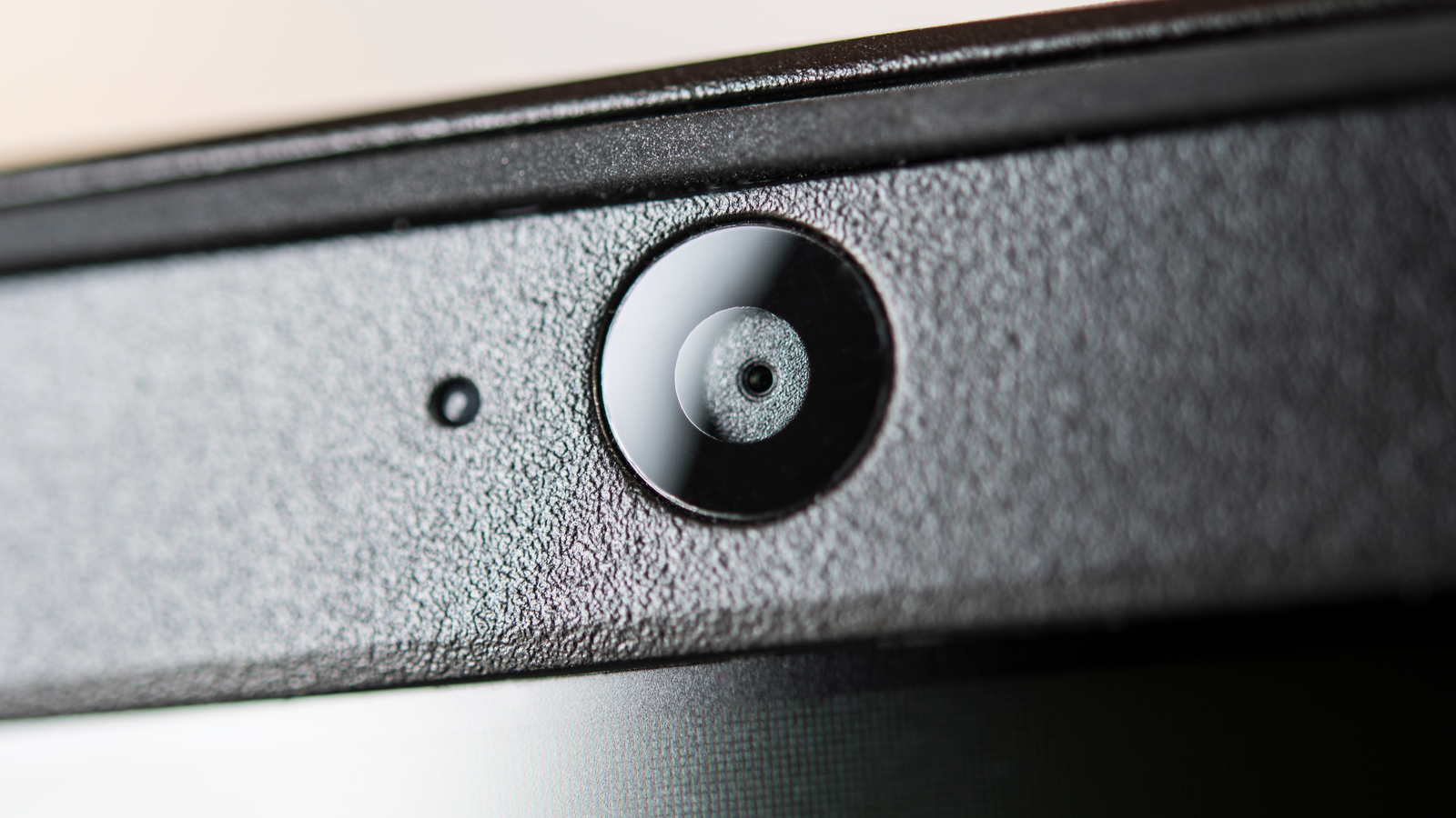 Close up shot of a built-in camera on a laptop