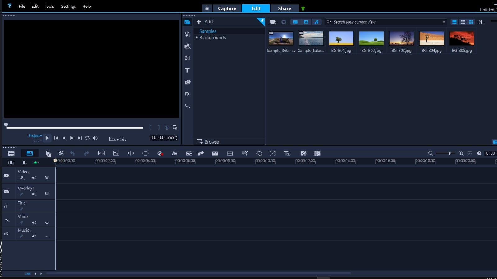 VideoStudio Pro main editing window