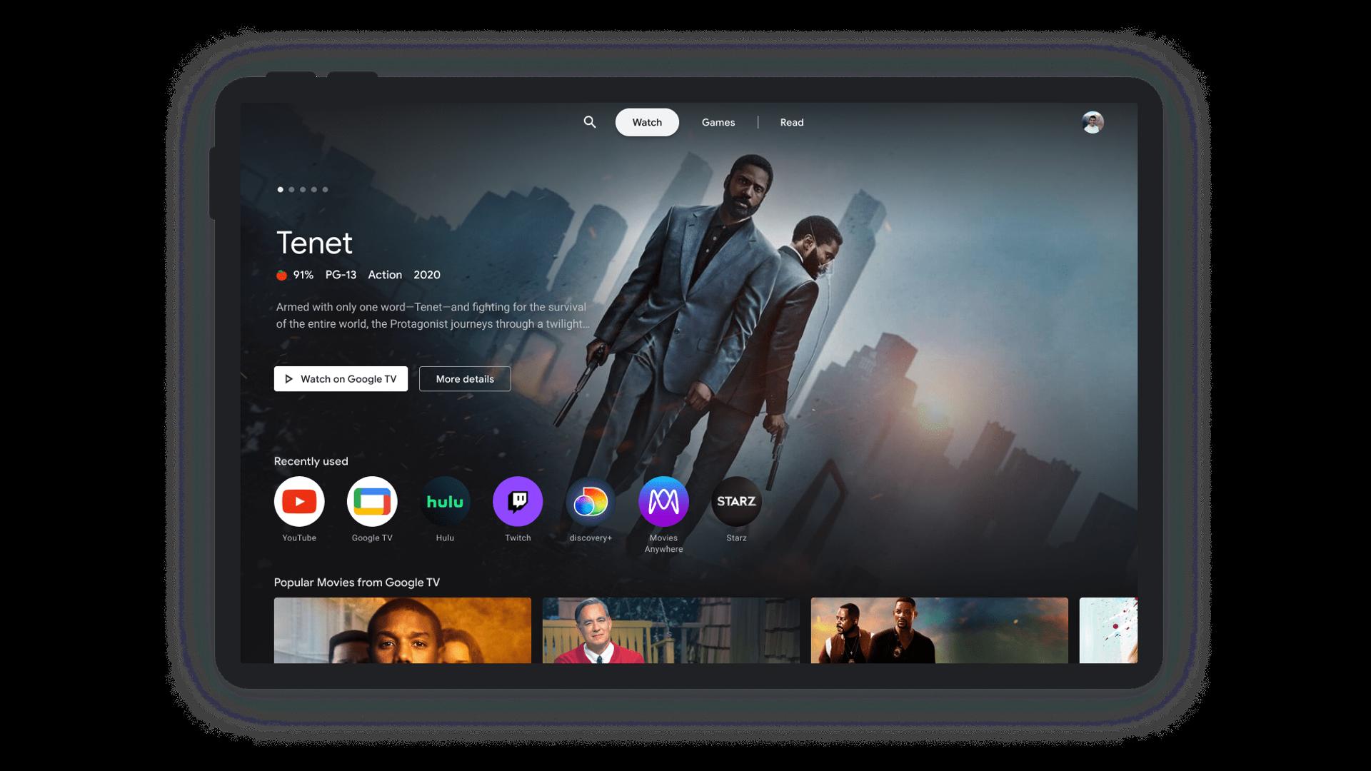 tablet entertainment space google tv