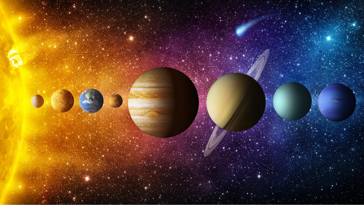 Solar system planet, comet, sun and star. Elements of this image furnished by NASA. Sun, Mercury, Venus, Earth, Mars, Jupiter, Saturn, Uranus, Neptune.