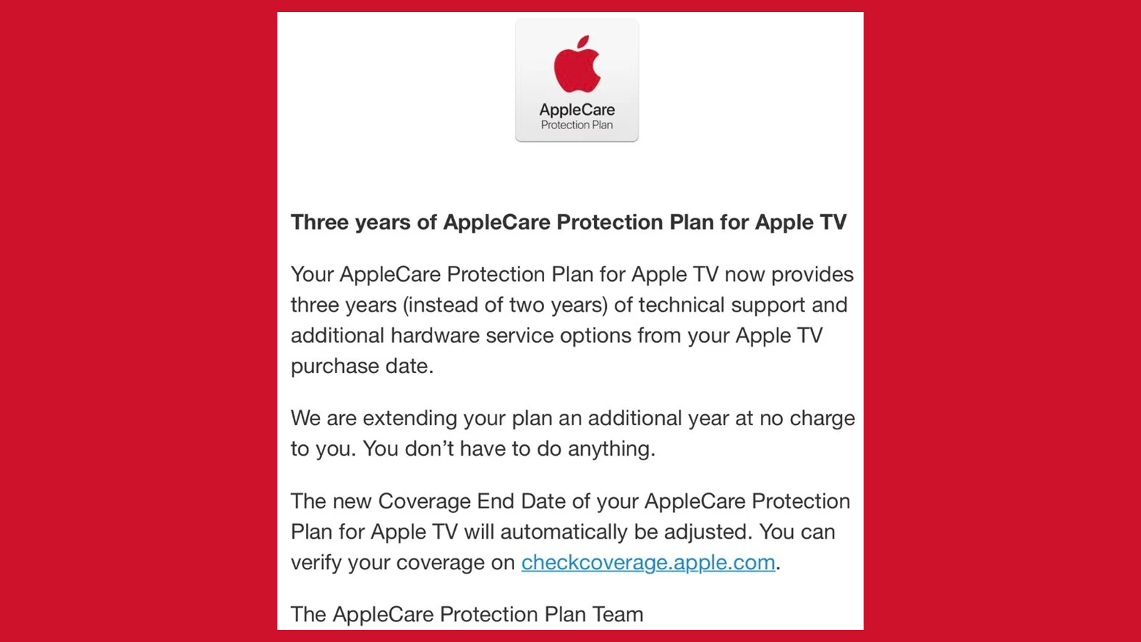 Apple's email about apple tv applecare coverage extension