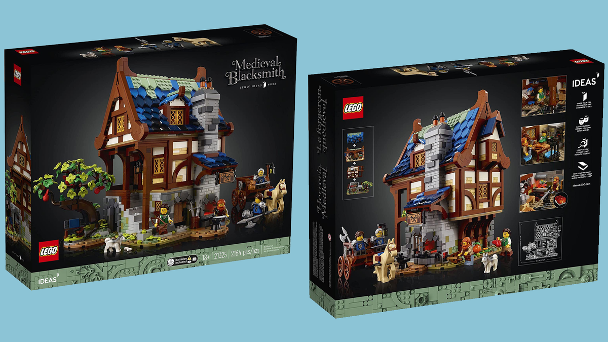 Front and rear views of the box for LEGO's Medieval Blacksmith set