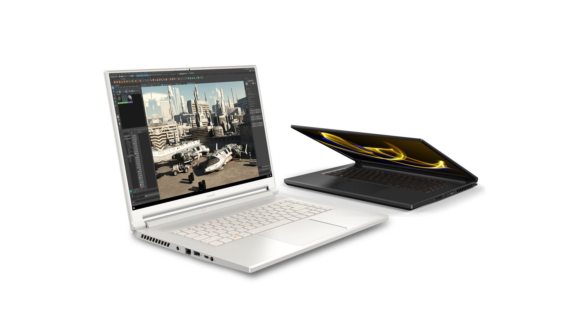 Two ConceptD 5 laptops in silver and black.