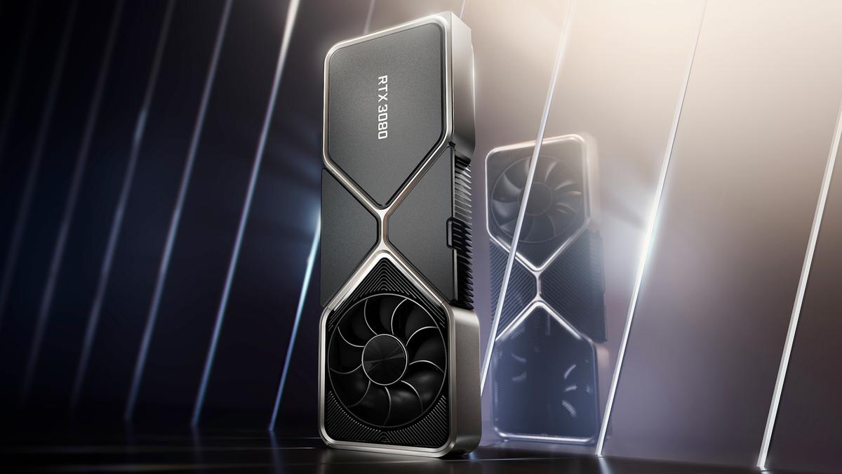 A photo of the RTX 3080 GPU.