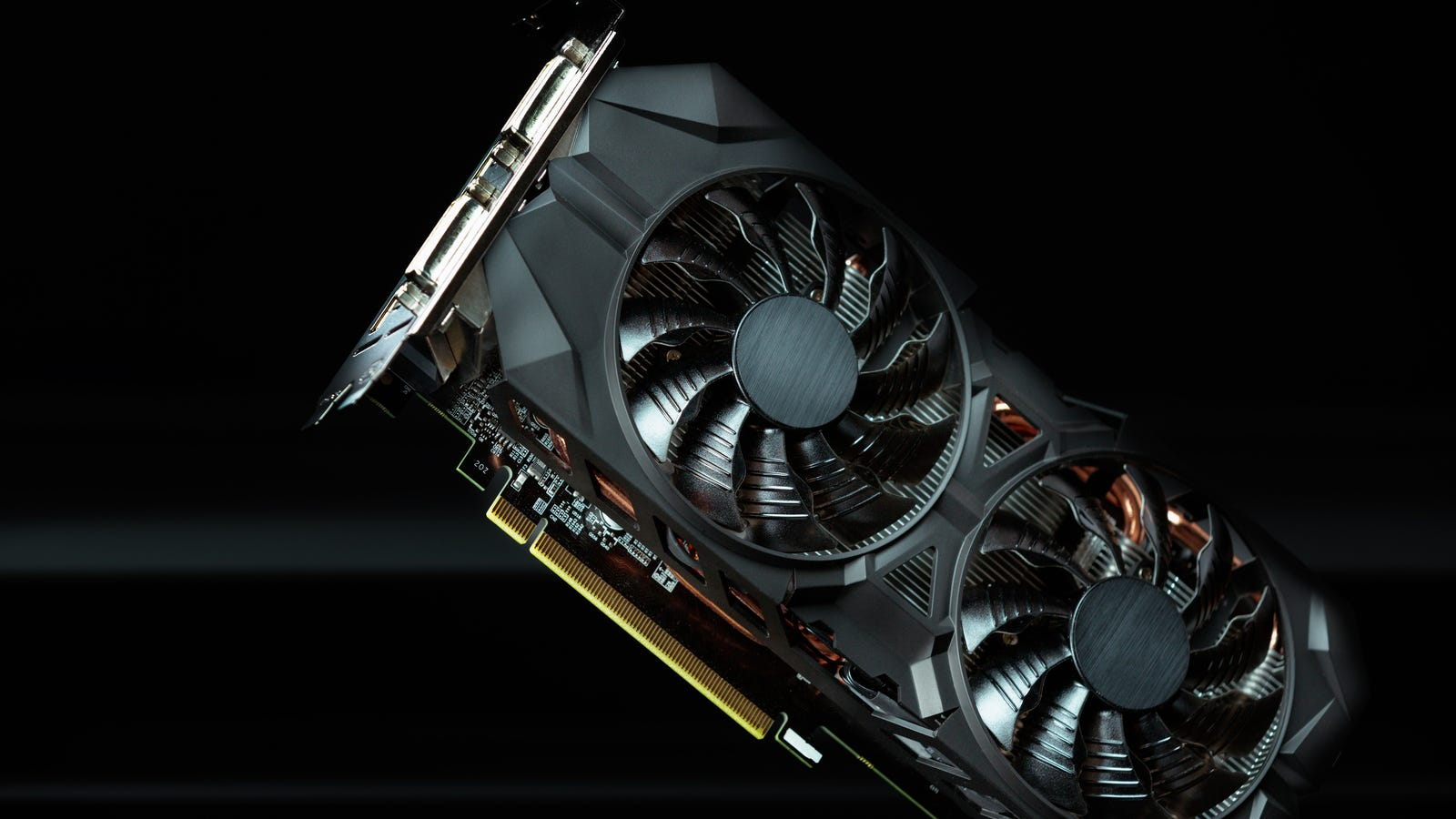 Graphics card set against a black and gray background