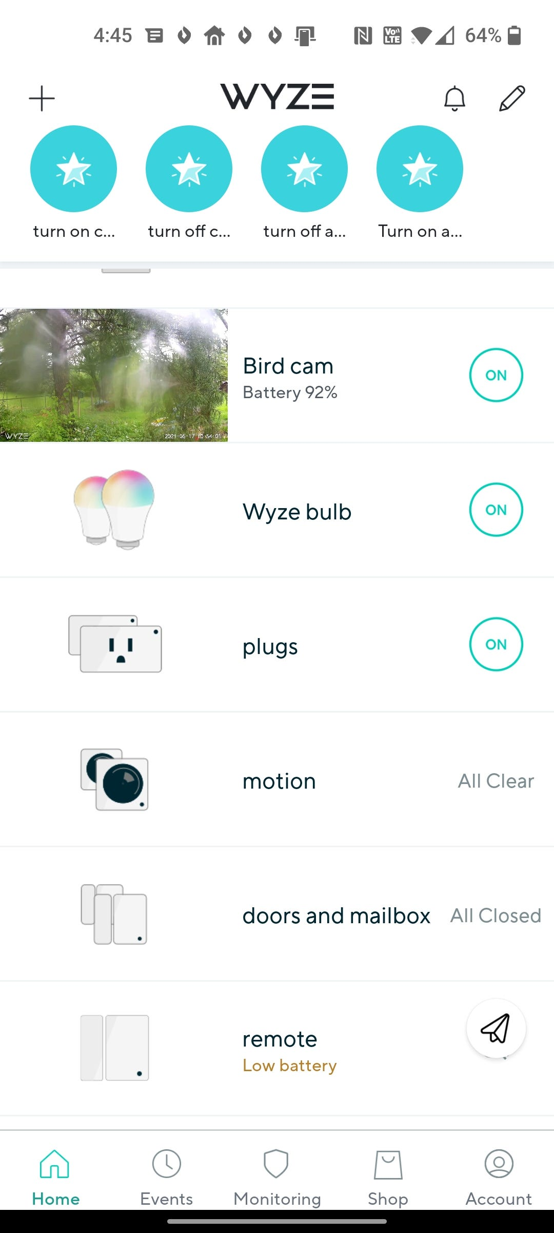 Wyze's Home Monitoring views.