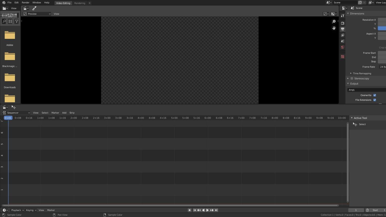 Blender main video editing window