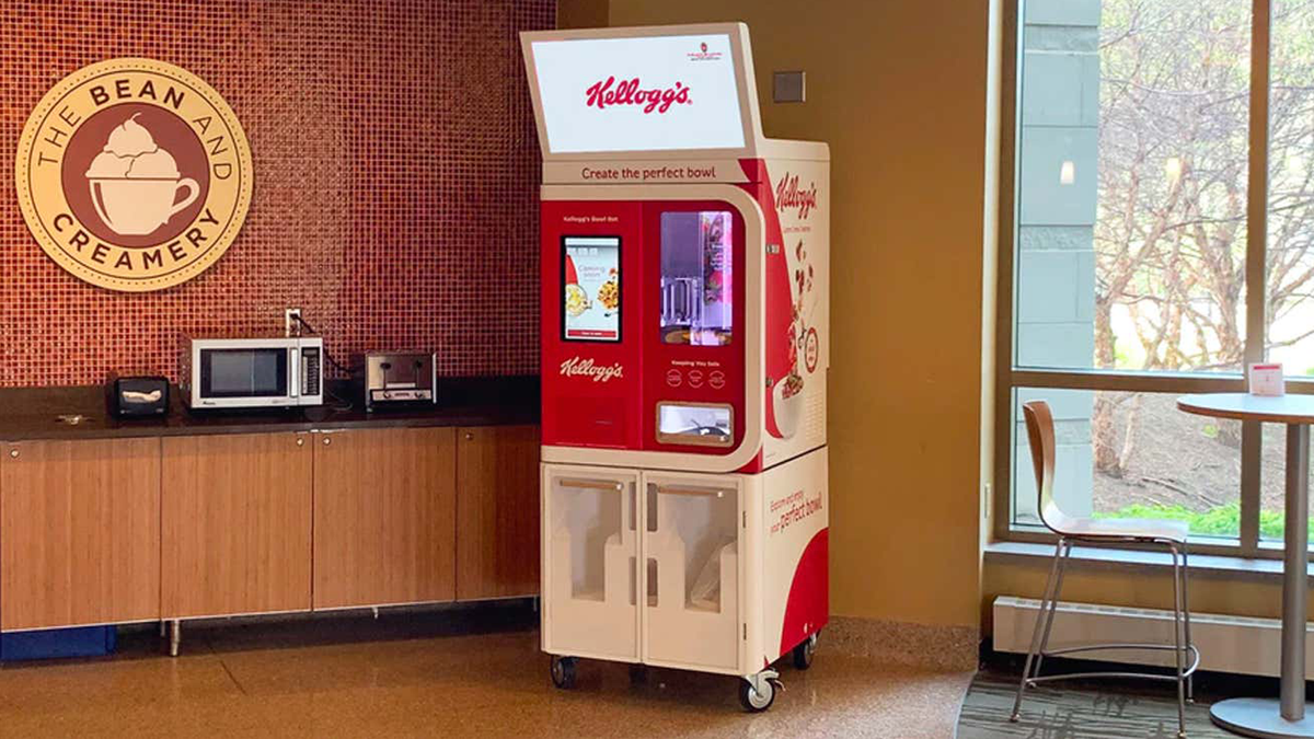 The Kellogg's Bowl bot in a cafeteria