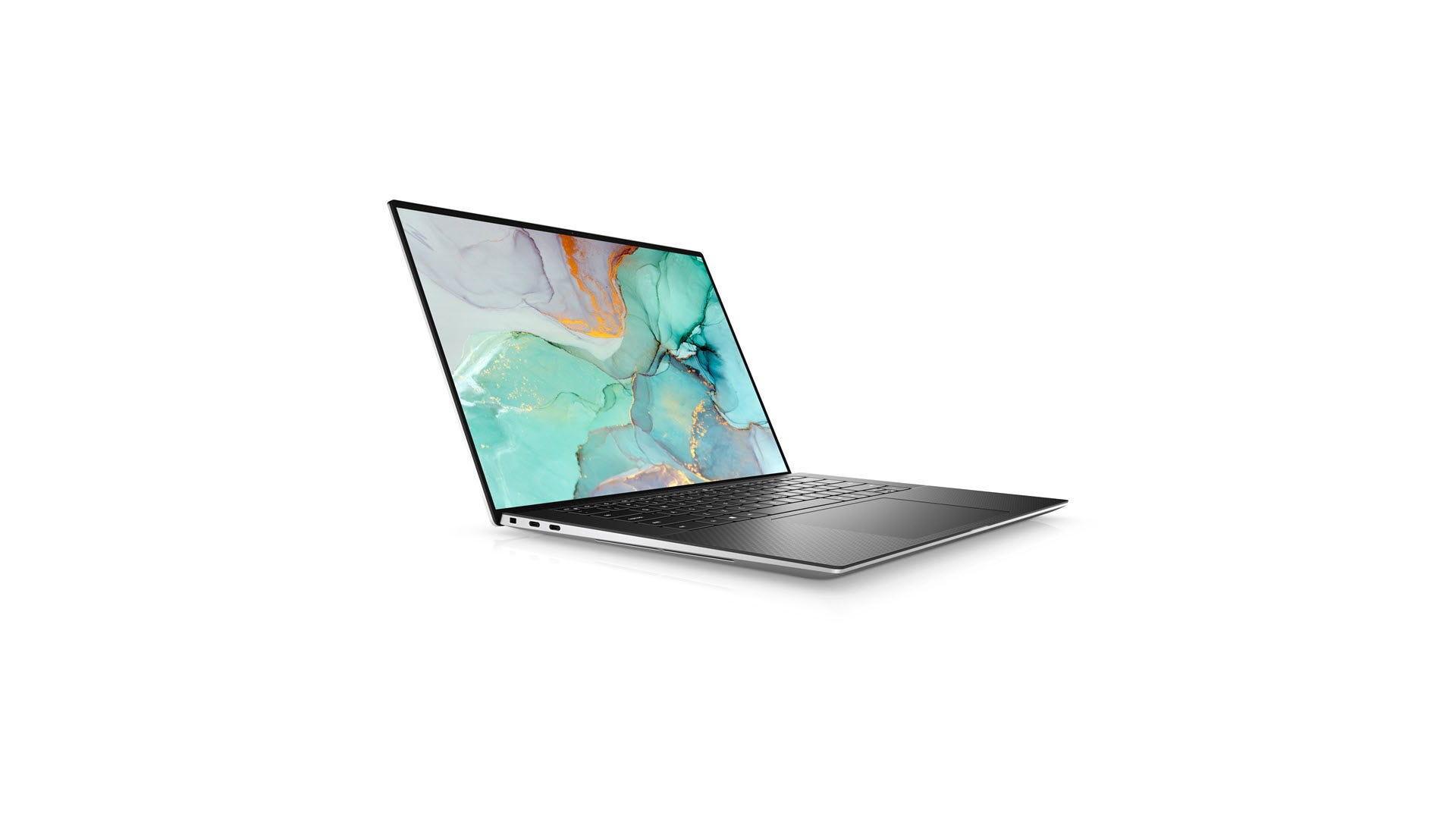 A Dell XPS 15 against a white backdrop.