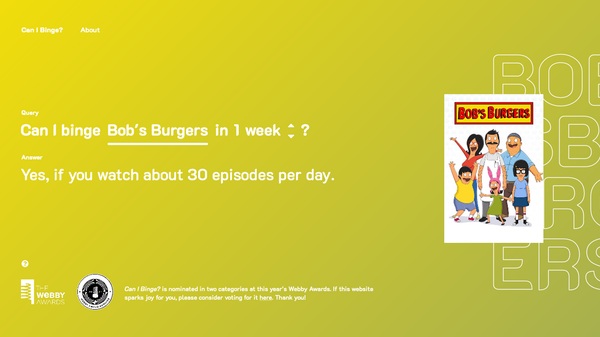 """""""Can I Binge?"""" Tells You How Long It'll Take to Rush through a TV Show"""