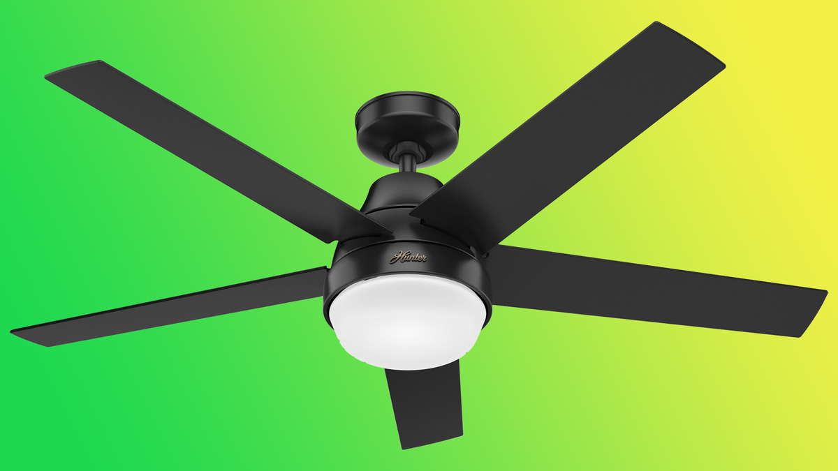 Aerodyne fan from Hunter Fan Company against green-to-yellow gradient background