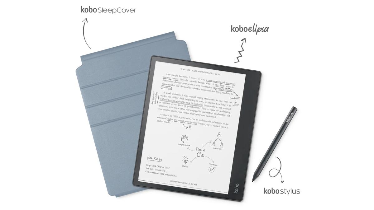 The Kobo Elipsa kit with a sleep cover and stylus.