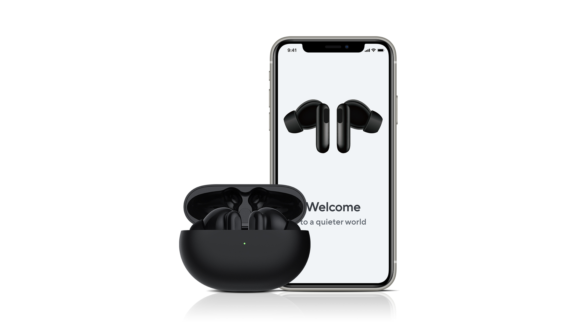 A pair of Wyze Buds Pro in a case, next to an app for the earbuds.