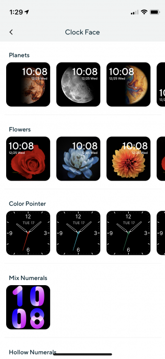 Clock faces on the Wyze Watch 44 (shown on iOS 14)