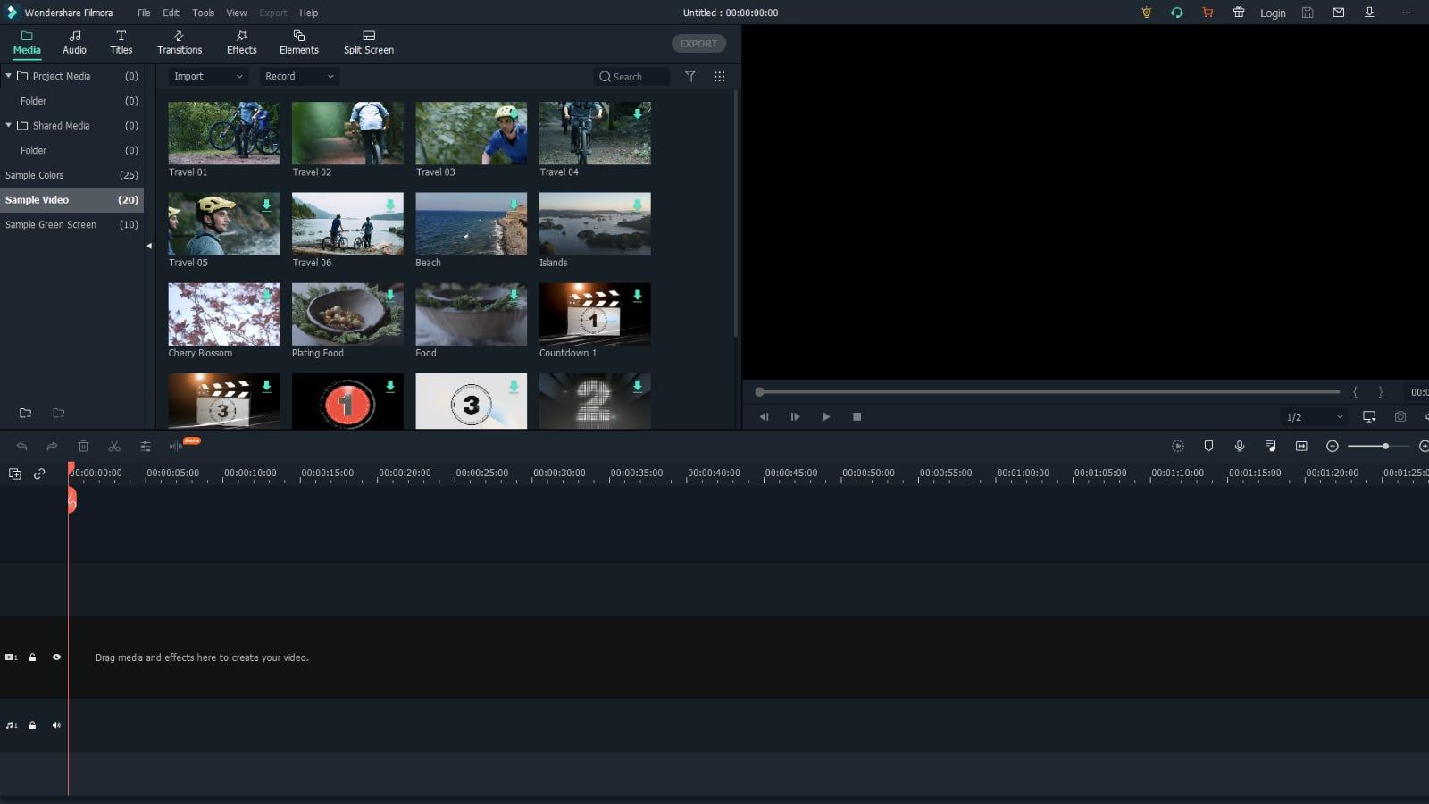 Filmora X main editing window