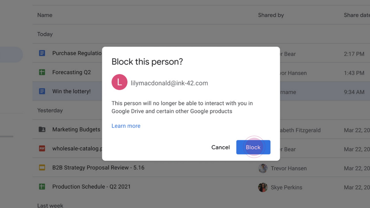 Blocking a user in Google Drive.