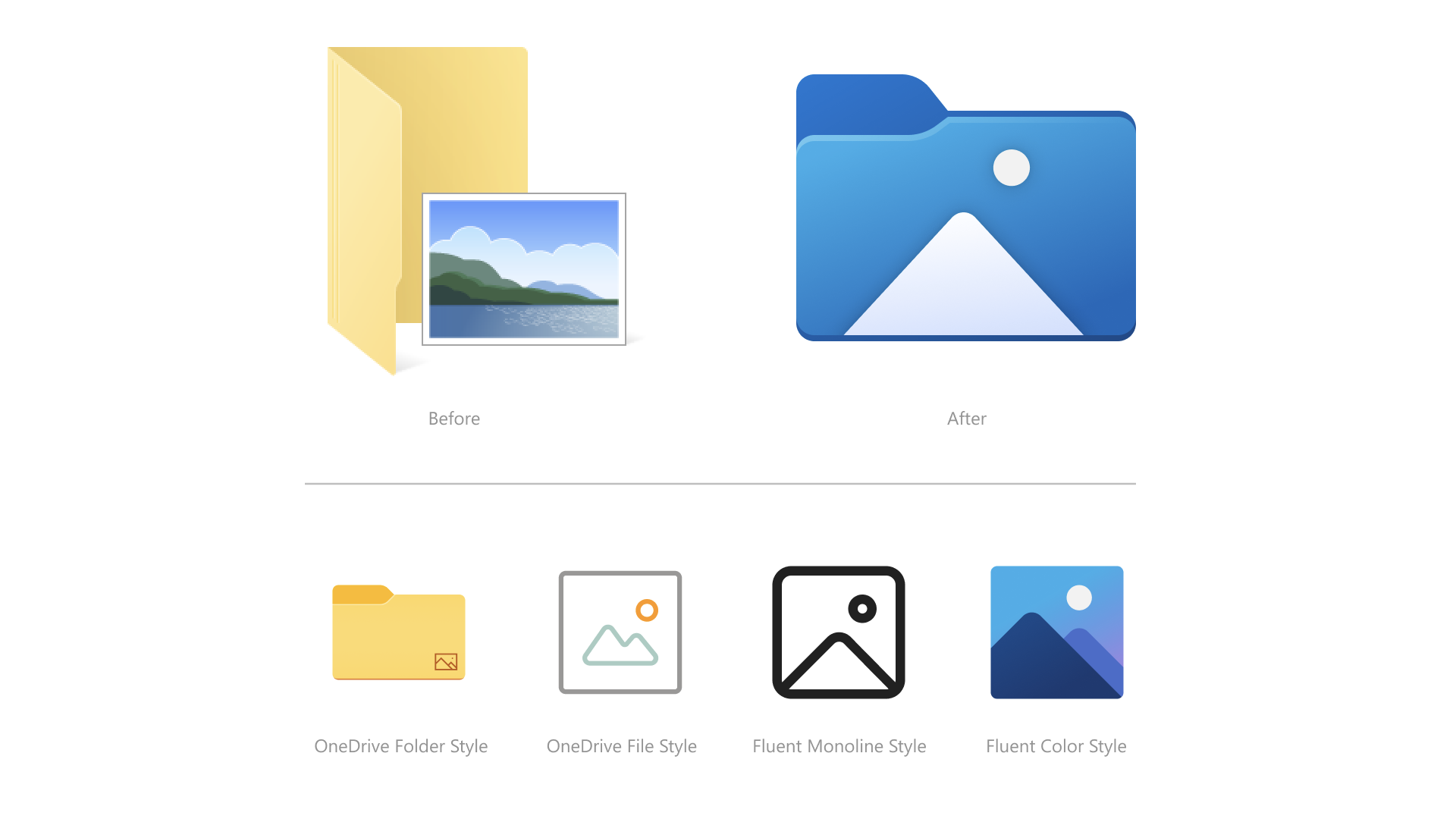 """Microsoft's upcoming """"Sun Valley"""" icons."""