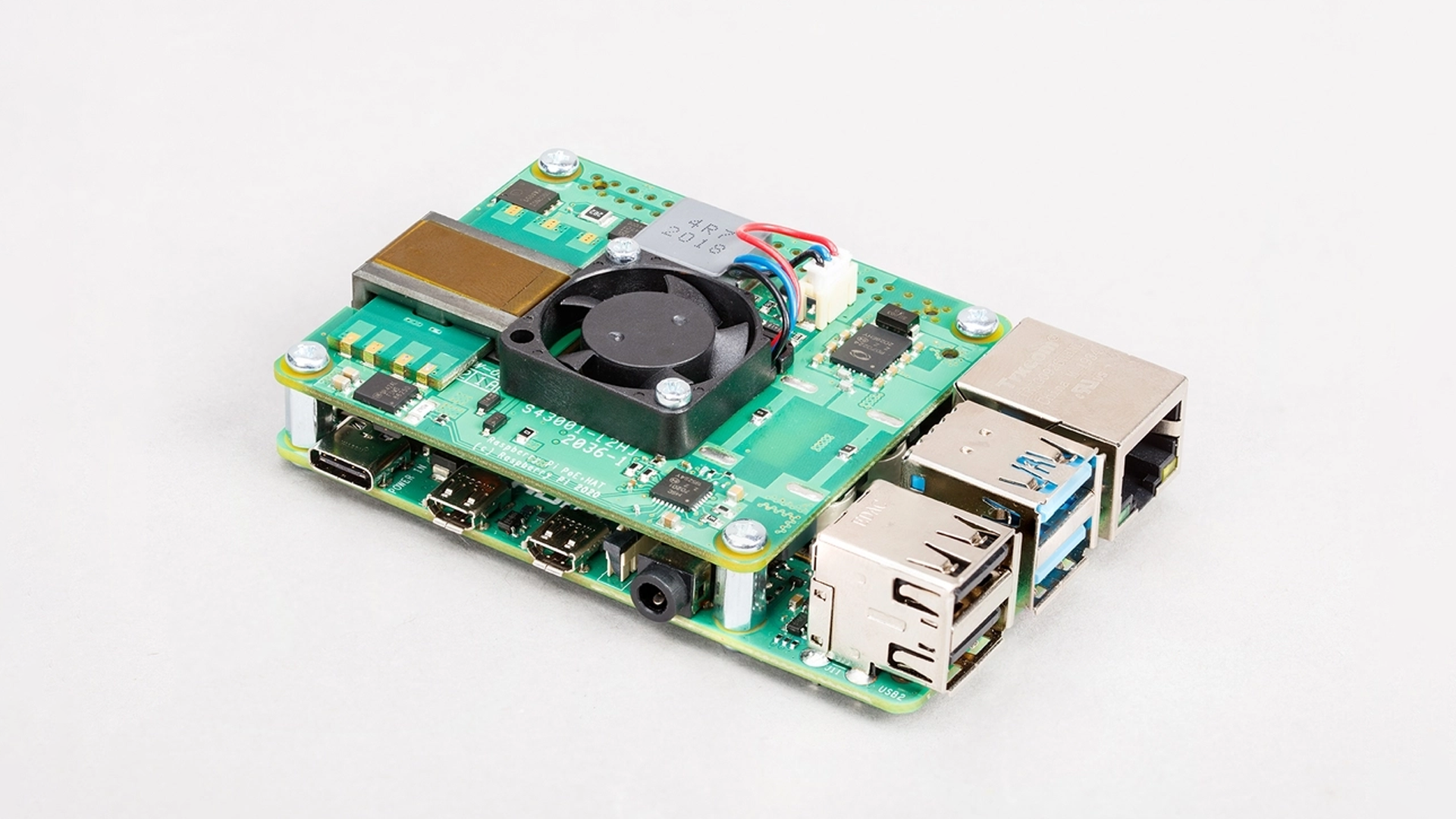 The PoE + HAT on a Pi 4 board.