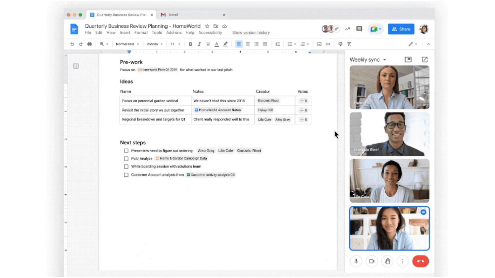 Google Meet and Docs