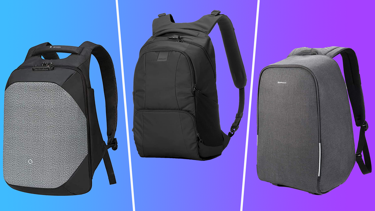KORIN, Pacsafe, and KOPACK anti-theft backpacks against blue to purple gradient background