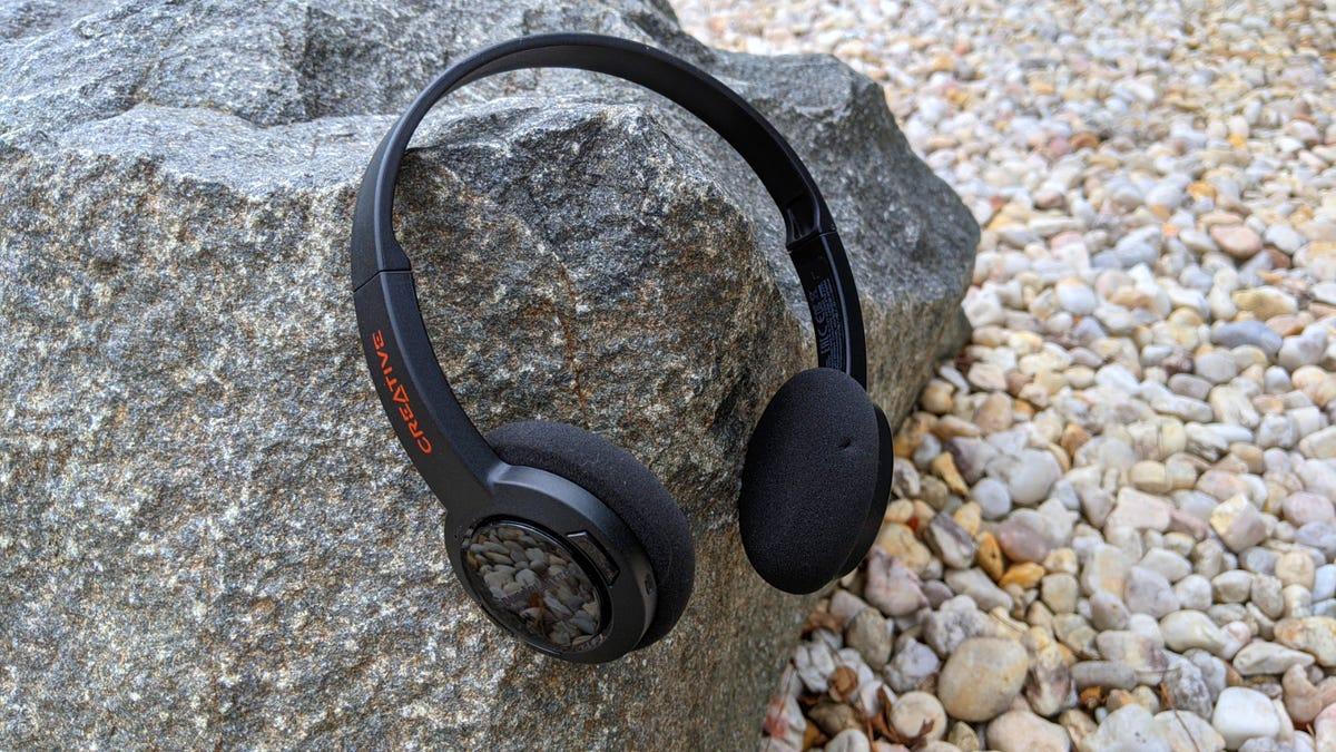 Sound Blaster Jam V2 headphones set against a rocky backdrop