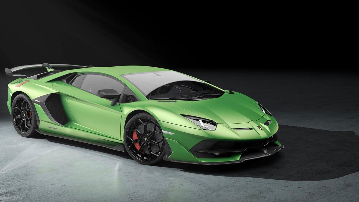 Lamborghini Aventador supercar in green