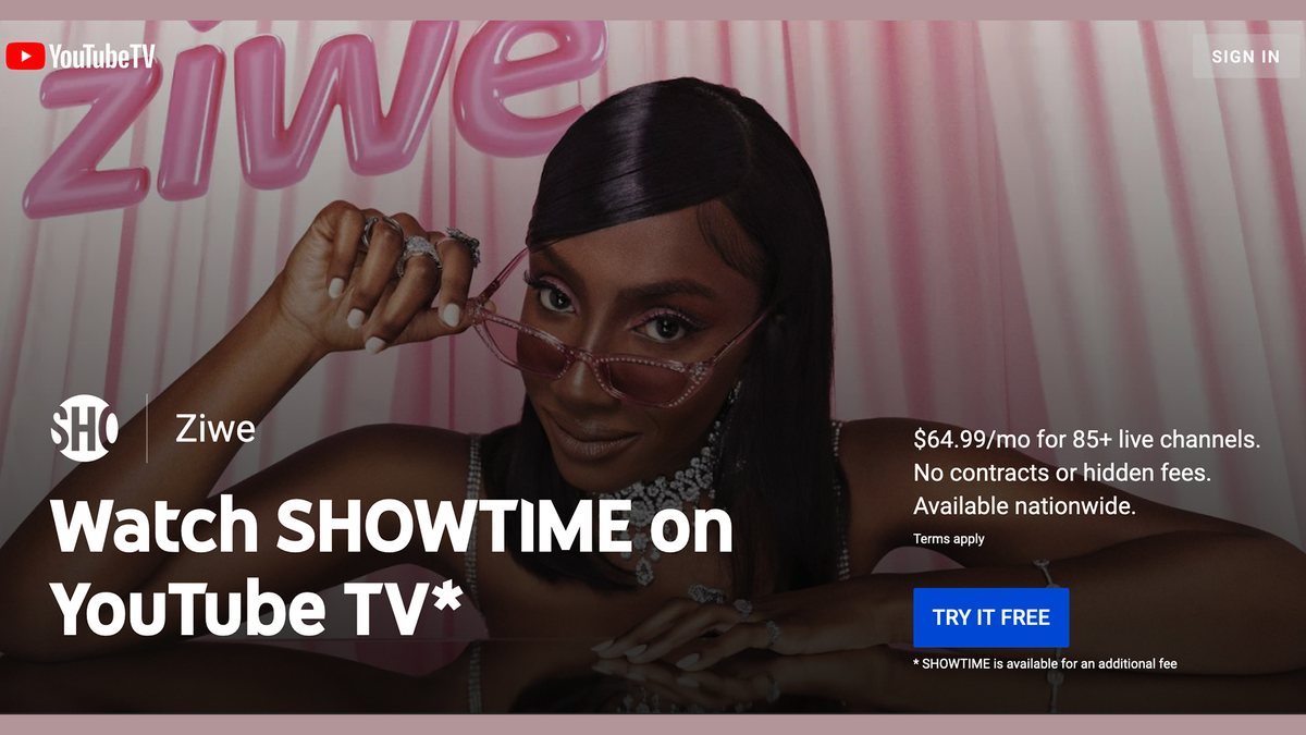 """The """"Showtime on YouTube TV"""" banner"""