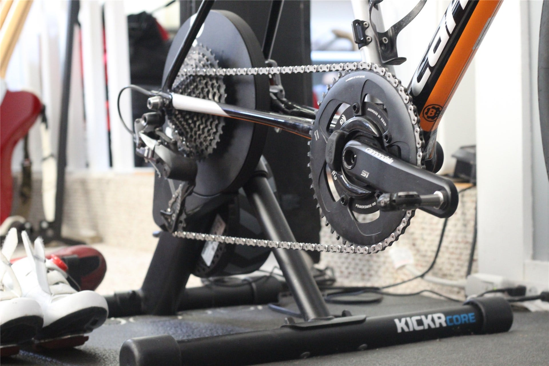 A bike mounted to a direct drive smart trainer, with a spider-based power meter