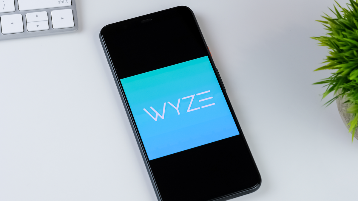 Wyze app logo on a smartphone screen, with a plant and keyboard on a white desk in the background