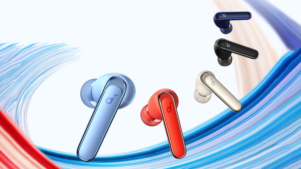 A photo of the Soundcore Life P3 earbuds in many colors.