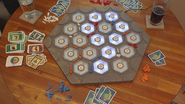 This 'Catan' Board Game Rolls for You, Lights Up the Resources You Need