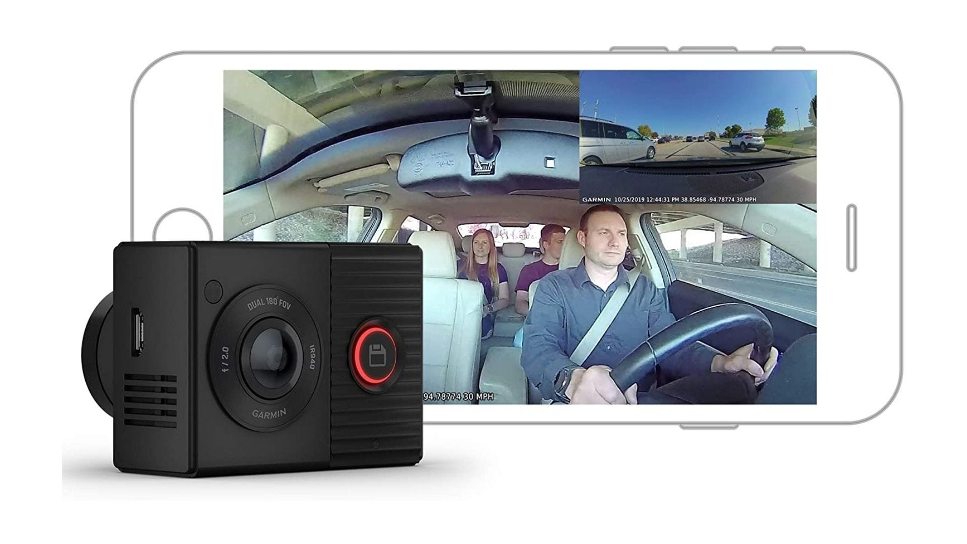 Garmin Dash Cam Tandem, Front and Rear Dual-lens Dash Camera