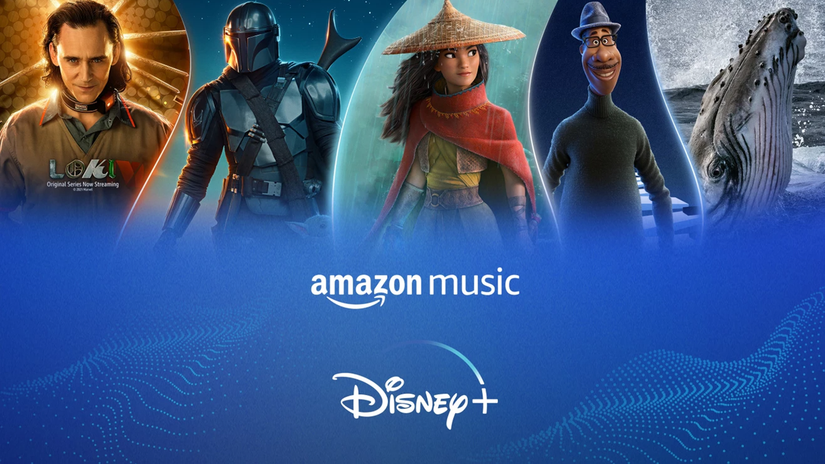 Amazon Music and Disney+ logos with characters from Disney+ content