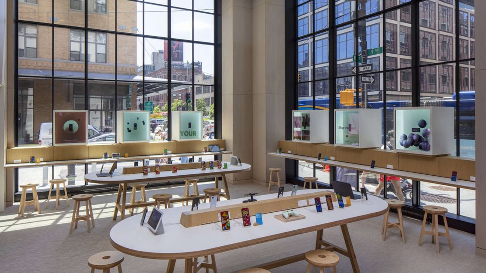 Interior view of the new Google Store, with phones and other devices on display