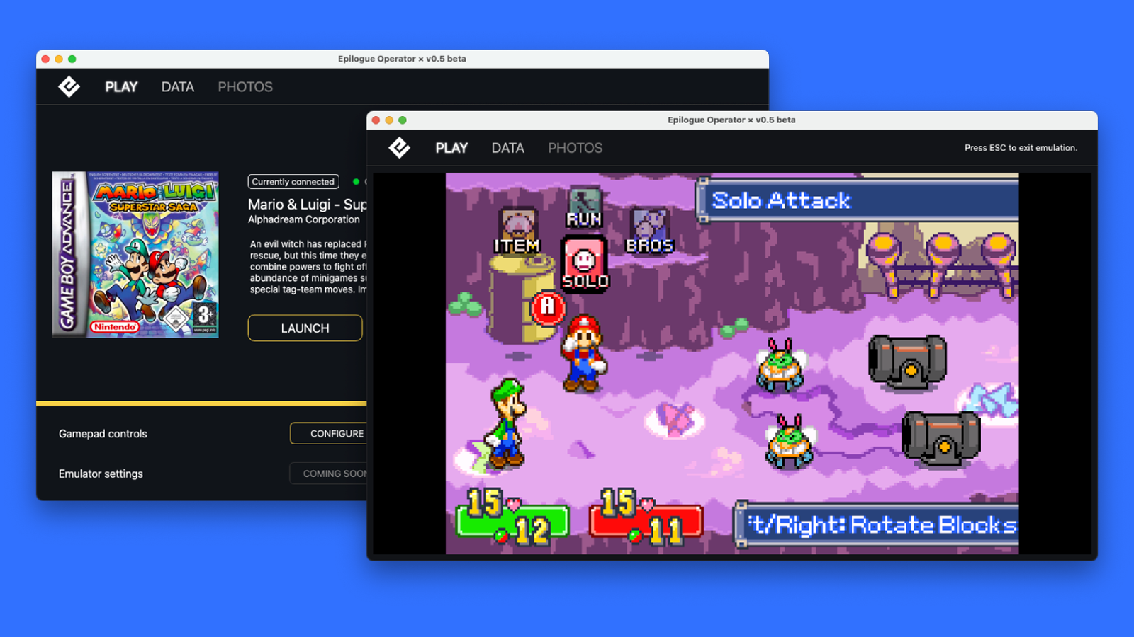 The emulator's game load screen and another screen with a game open