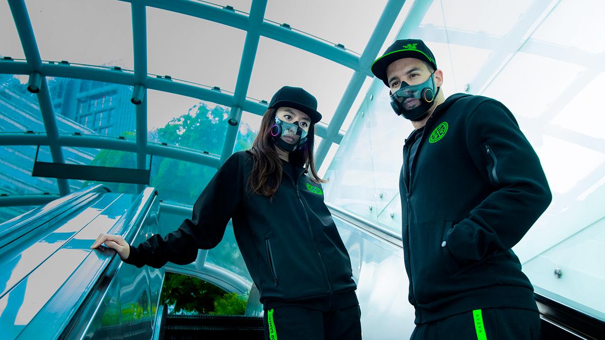 Two people wearing Razer's Project Hazel face mask