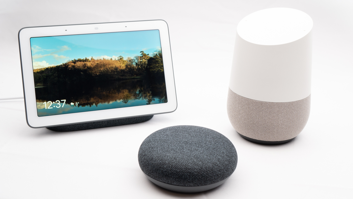 Google Nest devices on a white table