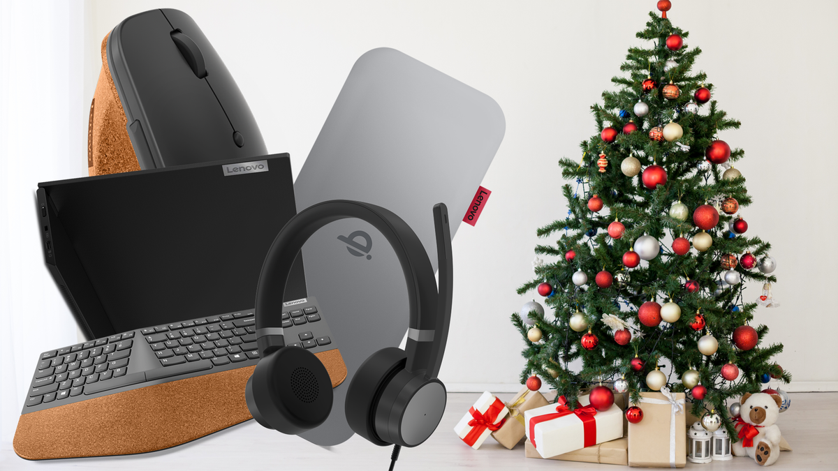 Five of Lenovo's new accessories next to a Christmas tree in a white room